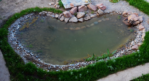 выкладываем камни для пруда